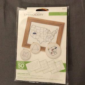 50 State Cross-stitch embroidery kit